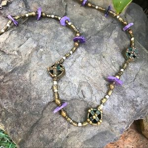 Charoite and brass necklace